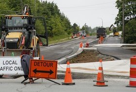 FOR MUNRO STORY: Street and sidewalk work is seen being done on Cumberland Drive at Forest Hills Parkway in Cole Harbour Wednesday June 16, 2021.