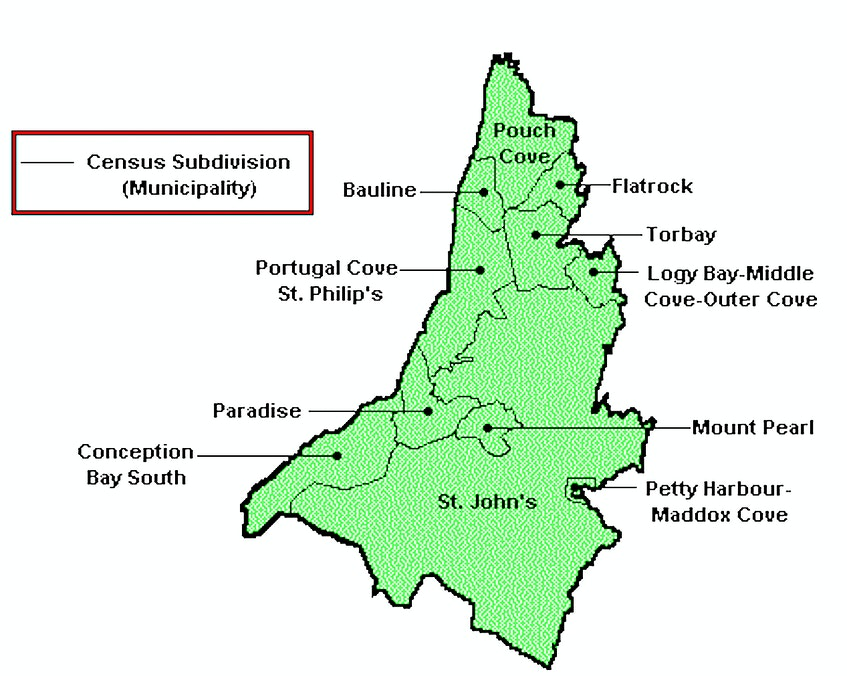 Boundaries of municipalities on the northeast Avalon. - Government of Canada