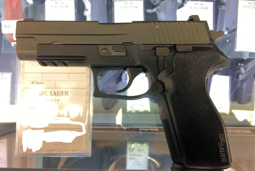 Sheriffs and RCMP officers failed twice to find a Sig Sauer P227, .45 ACP caliber, semi-automatic pistol like this one that a prisoner hid while he was being transported from Digby to the Burnside jail.