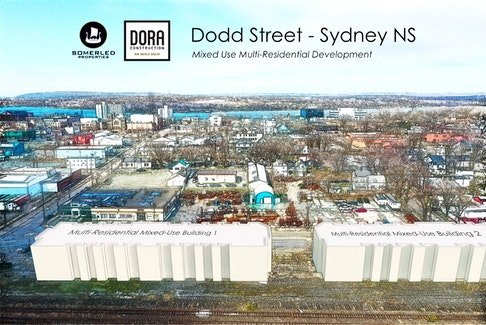 A visual image depicting where Somerled Properties/DORA Construction will be building a new residential and mixed-use complex on the site of the former Via Rail train station on Dodd Street in Sydney. CONTRIBUTED/DORA Construction