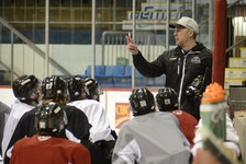 Jim Hulton goes over a drill with his Charlottetown Islanders during the 2020-21 Quebec Major Junior Hockey League season. He has been named the Ron Lapointe Trophy award winner for 2020-21 as Quebec Major Junior Hockey League coach of the year.