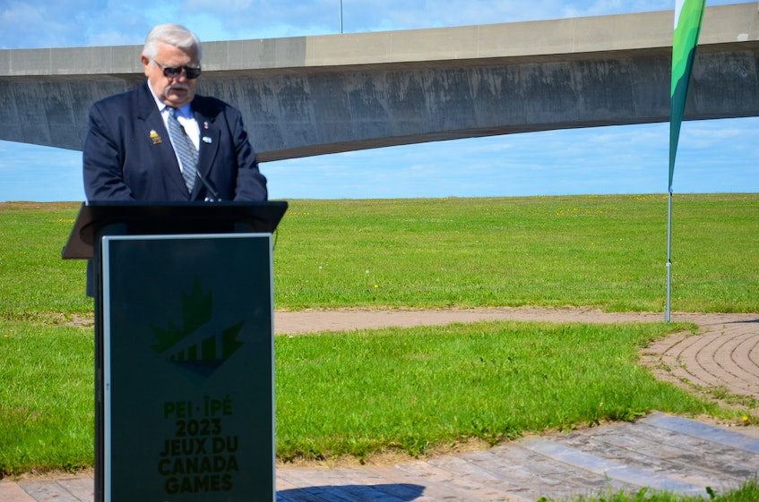 Summerside Mayor Basil Stewart speaks during an announcement for the 2023 Canada Winter Games at the Marine Rail Historical Park in Borden-Carleton overlooking the Confederation Bridge on Thursday morning. The City of Summerside and City of Charlottetown were introduced as municipal partners. The 2023 Canada Winter Games will take place on P.E.I. from Feb. 18 to March 5. - Jason Simmonds