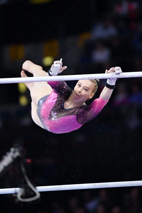 Halifax's Ellie Black competes on the uneven bars at the 2019 world gymnastics championships in Stuttgart, Germany. - Reuters