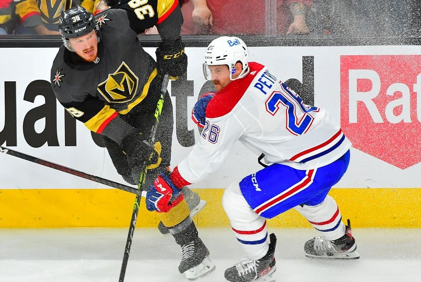 Golden Knights' Patrick Brown shoots the puck past Canadiens defenceman Jeff Petry during second period Wednesday night in Las Vegas. Petry's eyes were freakishly bloodshot and photos and memes of him started popping up all over social media. Stu Cowan has all the details.