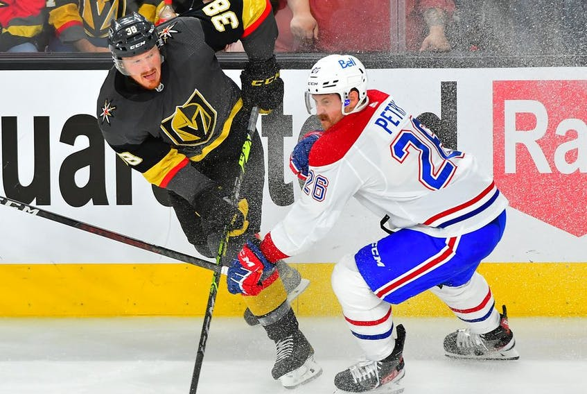 Vegas Golden Knights centre Patrick Brown shoots against Montreal Canadiens defenceman Jeff Petry during the second period of Game 2  at T-Mobile Arena on June 16, 2021, in Las Vegas.