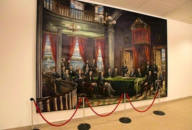 The Fathers of Confederation are depicted in a mural in one of the entrances to the shops of Confederation Court Mall in Charlottetown.