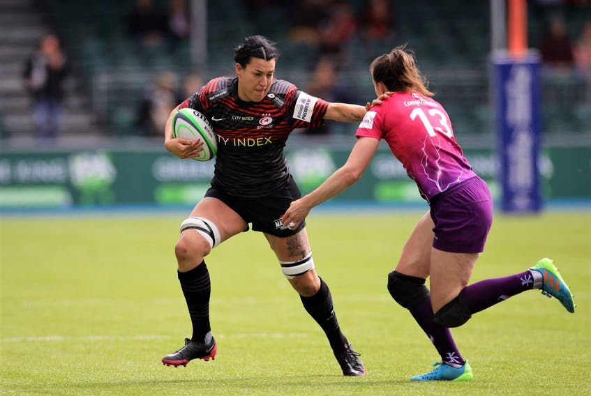 Emma Taylor pictured in recent England Premier 15s Professional League semi-final playoff action for the London Saracens.