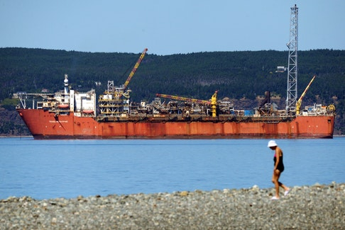 The Terra Nova floating production, storage and offloading vessel anchored in Conception Bay near Bell Island. Telegram file photo