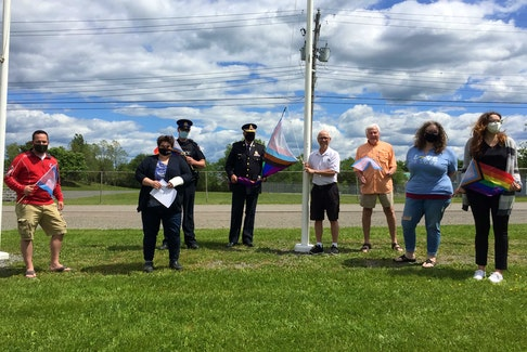 The Town of Westville, held a flag raising on Friday, June 11 in honour of Pride Month. Shown in the photo above are  from left:  Councillor Mitchell MacGregor, Treasurer/Secretary of the Pictou County Rainbow Community Joy Polley, S/Sgt. Evan Wilson, Chief of Police Howard Dunbar, Mayor Lennie White, Councillor Clarrie MacKinnon, Executive Director of the Pictou County Sexual Health Centre Vania MacMillan and Social Service Assistant Lauryn Cameron.