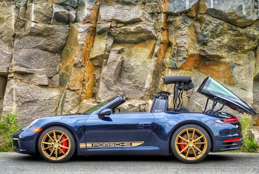 The 2021 Porsche 911 Targa 4S's Targa designation, refers to its unique open-topped configuration, dubbed the Targa top. Justin Pritchard/Postmedia News