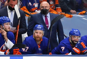 Head coach Barry Trotz of the New York Islanders looks on against the Tampa Bay Lightning during the third period in Game Three of the Stanley Cup Semifinals during the 2021 Stanley Cup Playoffs at Nassau Coliseum on June 17, 2021 in Uniondale, New York.