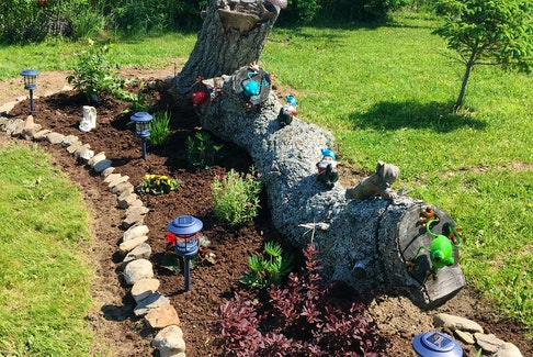 Mary Twiss submitted this lovely photo of a log garden on Park Street in Dominion, Cape Breton. Mary said she loves the garden and shared the photo because she thinks it might give others an idea. You can appreciate the time and love she put into the project, complete with solar lights, a few colourful frogs, garden gnomes and some landscaping. Well done, Mary. Thanks for the photo, Mary.