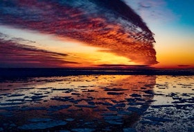 """It seems that over time, the weather has inspired many to write. Rhodes Kellegrew mentioned a fiddle tuned titled, """"Clouds of the Evening.""""  This stunning end-of-day photo taken by Maurice Deveau in Cheticamp, N.S. could certainly inspire."""