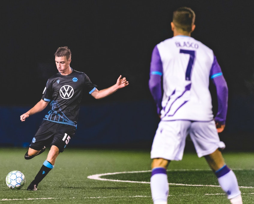 Scott Firth, shown here in action during the Canadian Premier League's 2020 Island Games season tournament, has appeared in 11 career matches with the HFX Wanderers over the past two seasons. - HFX Wanderers