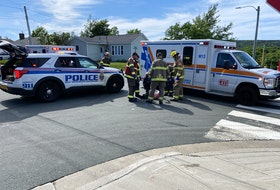 A female pedestrian was taken to hospital with serious injuries after being struck by a vehicle in an apparent hit-and-run in St. John's Friday afternoon. — Keith Gosse/The Telegram