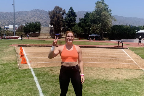 Brooklyn's Sarah Mitton in her shot put throws 'office' during a training session. Contributed