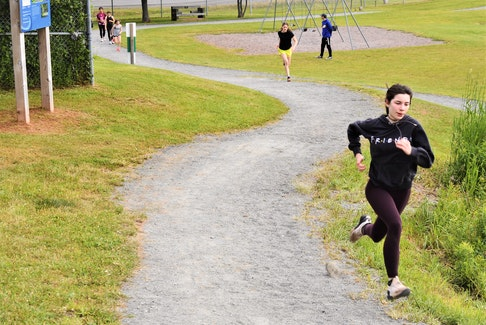 Truro Lions' runner Tayler Ferguson sprinting uphill on the trail at the Bible Hill Recreation Park as part of the club's training.