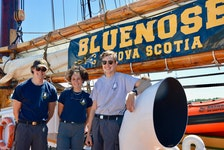 From left, Colin Campbell, Arianne Maillet and Will Taves are among the 18 crew members of Bluenose II that was docked at the Port of Sydney Thursday and Friday. Nova Scotia's sailing ambassador is celebrating its 100th anniversary this year and will be making stops around the province, including Louisbourg today and Gabarus on Sunday. ELIZABETH PATTERSON/CAPE BRETON POST