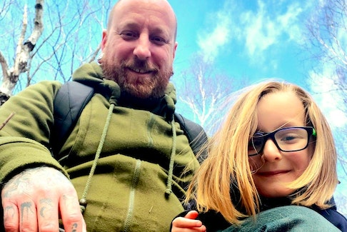 Alex Ste. Marie, left, and his five-year-old son Silas out for a hike in Cape Breton in April. St. Marie is a single father and the full-time parent to Silas. CONTRIBUTED PHOTO