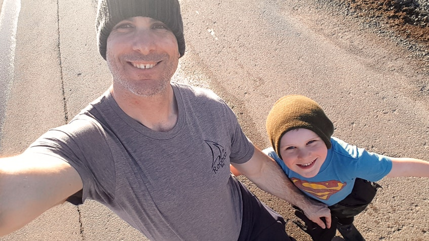 Donnie Green and his son Anderson snap a selfie on a walk in March. Green took three months parental leave when Anderson was nine months old and thinks Canadians are lucky to have this option for fathers. CONTRIBUTED