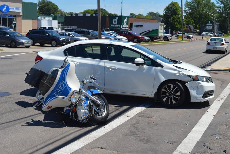 Charlottetown police motorcycle driver involved in collision with car