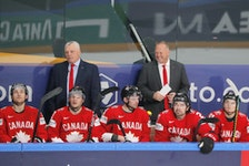 Head coach Gerard Gallant, right, and assistant coach Mike Kelly won gold with Team Canada at the world hockey championship in Latvia. Gallant is from Summerside while Kelly grew up in Shamrock and now lives in Charlottetown.