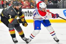 Montreal Canadiens right-wing Brendan Gallagher shoots in front of Vegas Golden Knights defenceman Alex Pietrangelo during the first period of Game 2 at T-Mobile Arena in Las Vegas on June 16, 2021.