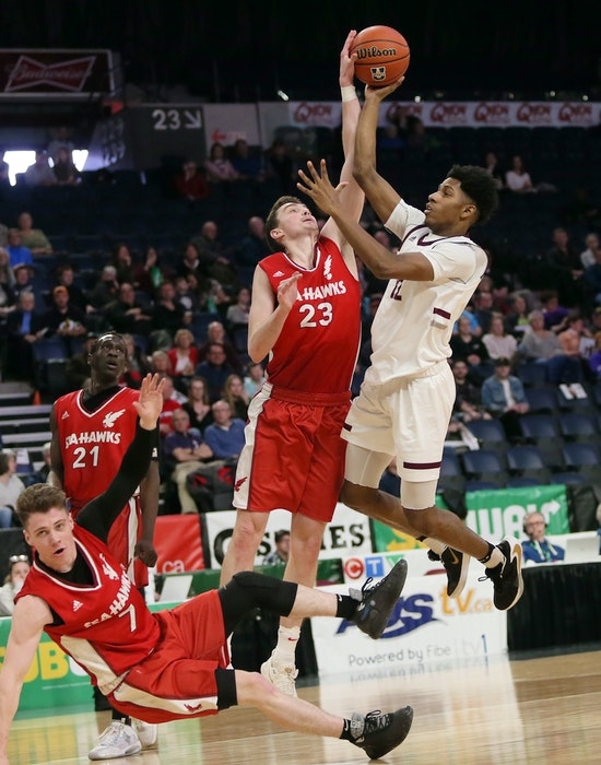 Memorial University's Seahawks men's basketball team in AUS playoff action in February of 2020. It's the last time the Sea-Hawks played as the entire 2020-21 varsity basketball was cancelled — SaltWire Network file photo/Tim Krochak