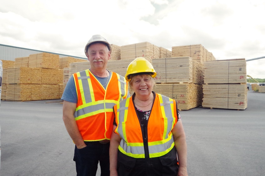 """Kevin and Susan Sexton at Sexton's Lumber in Bloomfield. Kevin says when he decided to take over the business when his father was ready to retire in the 1980s, he knew he wanted to grow the business. """"My goal was to have the biggest sawmill in Newfoundland,"""" he said. Over the past three decades, the company has grown its annual production from two million board feet of lumber to 60 million."""