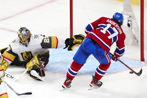 Canadiens' Josh Anderson' beats Golden Knights' Marc-André Fleury for the winning goal during overtime Friday night at the Bell Centre.