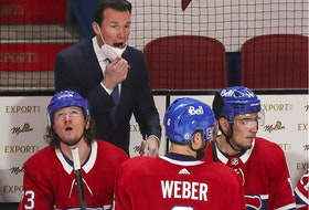 Canadiens assistant coach Luke Richardson speaks to defenceman Shea Weber during a break in play during the first period of a National Hockey League playoff game against the Vegas Golden Knights in Montreal on Friday, June 18, 2021.  Richardson was acting as head coach following interim head coach Dominic Ducharme's positive COVID-19 test.
