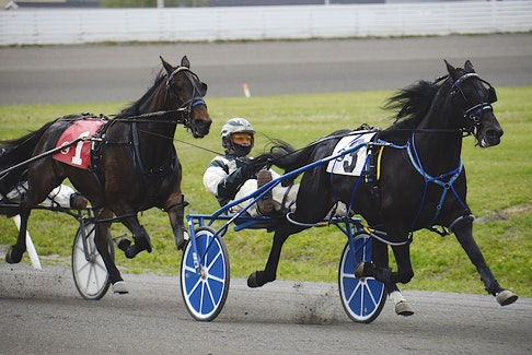 Three Truths, with Kenny Arsenault driving, led from gate to wire in Race 2 Saturday, June 19, at Red Shores at the Charlottetown Driving Park.