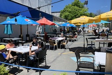 June 2, 2021 - Patrons enjoy a nice day outside Athens restaurant on Quinpool Road on Wednesday as Nova Scotia's COVID-19 restrictions eased to allow service outside.