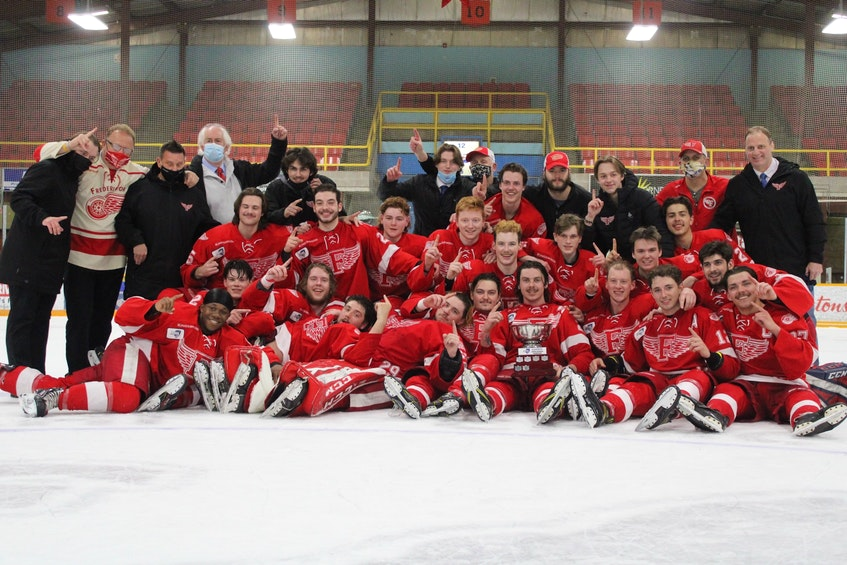 Charlottetown's Declan MacEachern and his Fredericton Red Wings won the Maritime Junior Hockey League's Canadian Tire Eastlink North Division title recently. - Contributed