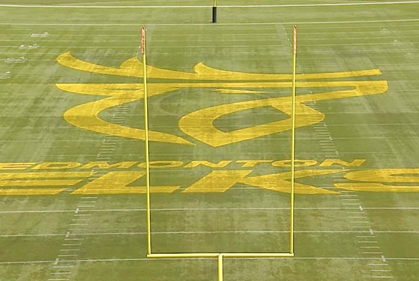 The Edmonton Elks CFL team reveals its new name and logo on June 1, 2021.