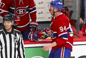 The Canadiens' Corey Perry head to the bench with a bloody nose after taking a high stick from the Vegas Golden Knights' Jonathan Marchessault during Game 4 of Stanley Cup semifinal series at the Bell Centre. No penalty was called on the play.