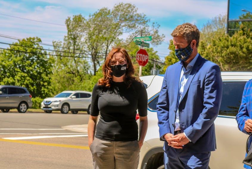 Cape Breton Regional Municipality Mayor Amanda McDougall, left, and Premier Iain Rankin prior to the announcement. JESSICA SMITH/CAPE BRETON POST