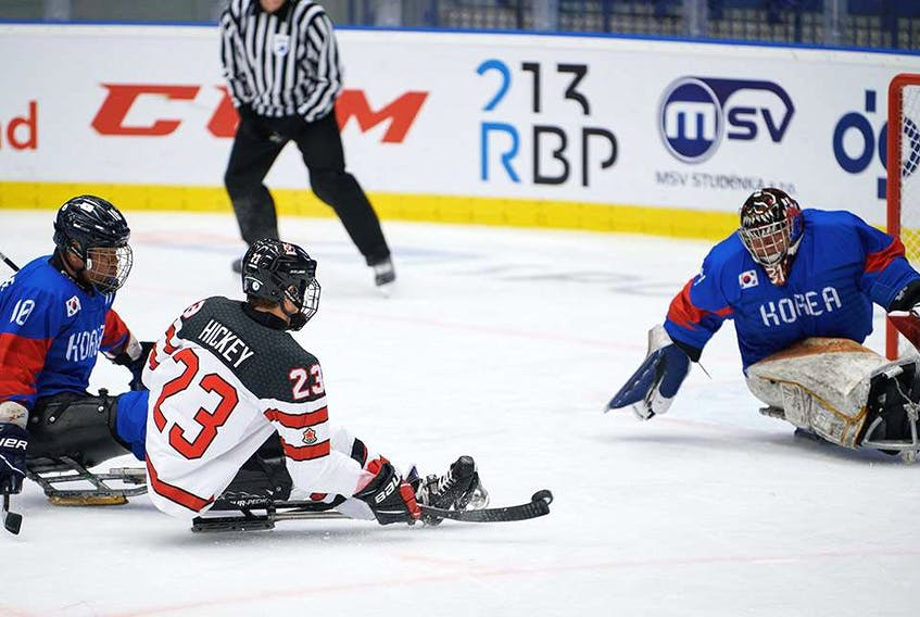 Liam Hickey (23) of St. John's scored two goals and added three assists in Canada's 8-0 win over South Korea at the 2021 world men's para-hockey championship in Ostrava, Czech Republic on Sunday. — Hockey Canada photo