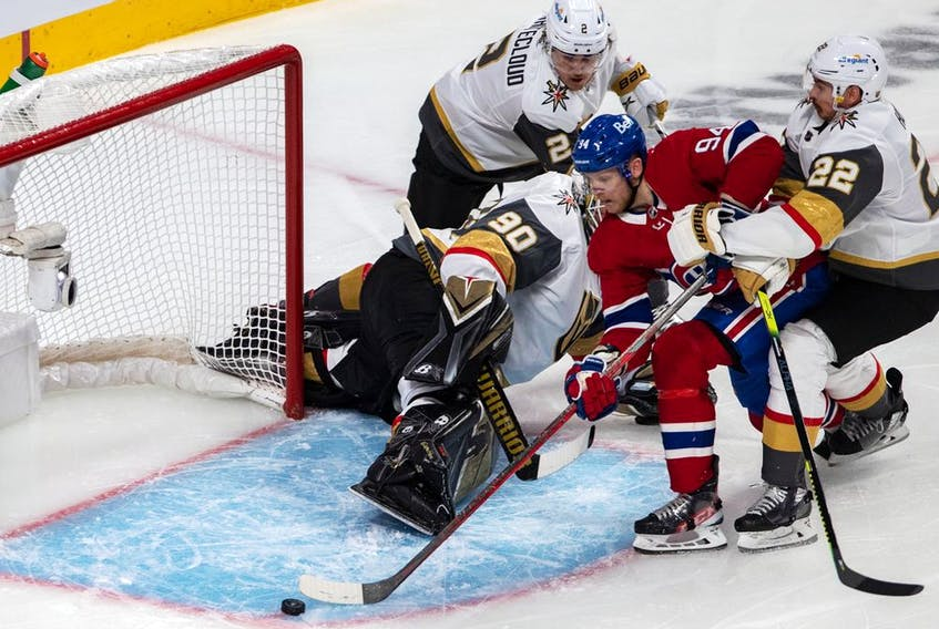 Canadiens' Corey Perry (94) missed a scoring opportunity against Vegas Golden Knights goaltender Robin Lehner during the first period NHL Stanley Cup semifinal action at the Bell Centre in Montreal on Sunday, June 20, 2021.