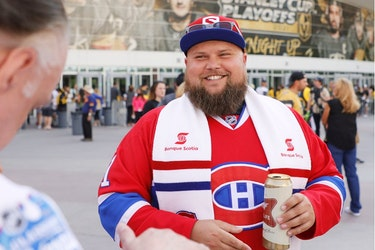Canadiens fan Jean-Phillipe Dupuis greets other Montreal fans ahead of Game 2 of Stanley Cup semifinal series against the Golden Knights outside T-Mobile Arena in Las Vegas.