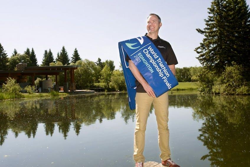 World Triathlon Edmonton general manager Stephen Bourdeau poses for a photo in Edmonton's Hawrelak Park, Monday June 21, 2021.