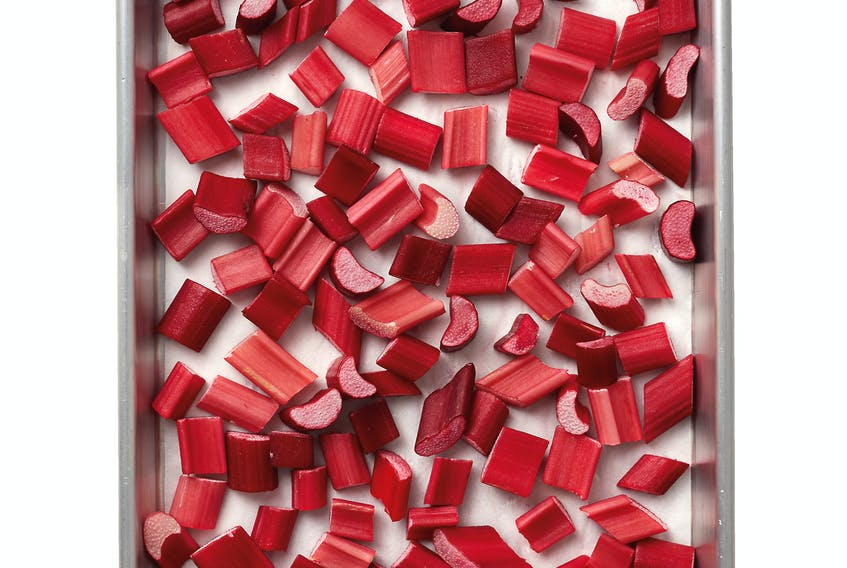If you're blessed with lots and lots of rhubarb, you can always freeze it. Be sure to wash it well. Cut it into 2.5 cm chunks and lay it out on a lined baking sheet. You should freeze the rhubarb for at least four hours before bagging it. Frozen rhubarb can be used in crisps and muffins without thawing.