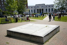The empty pedestal where the Cornwallis statue once stood, is seen during a renaming ceremony of Peace and Friendship Park in Halifax Monday, June 21, 2021.