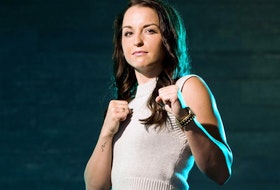 Local bantamweight boxer Mikenna Tansley, seen here on June 10, 2021, in Edmonton, is off to fight in the Chicago area for the Canadian bantamweight title.