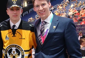 Cape Breton Eagles scout Stuart MacRae, right, with current Eagle Zach Welsh during the 2019 Quebec Major Junior Hockey League Entry Draft at Vidéotron Centre in Quebec City. The Coxheath product is a Nova Scotia scout and has been with the team for the past three seasons. CONTRIBUTED