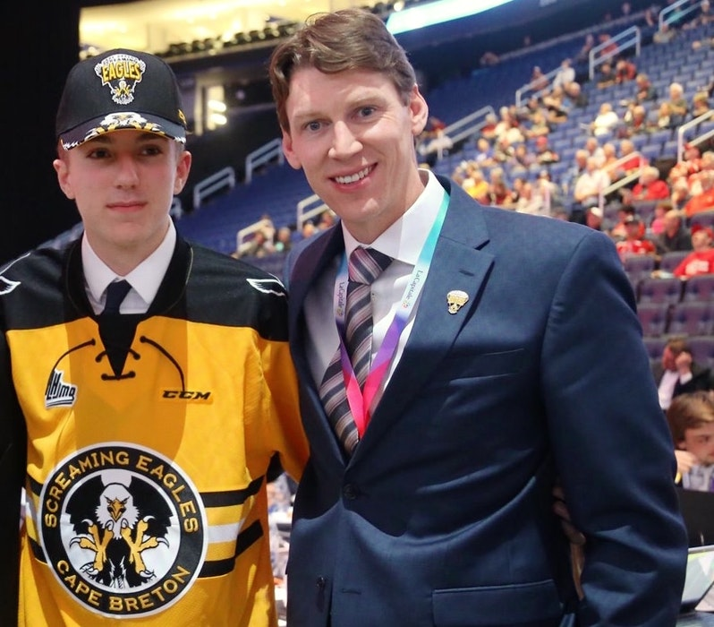 Cape Breton Eagles scout Stuart MacRae, right, with current Eagle Zach Welsh during the 2019 Quebec Major Junior Hockey League Entry Draft at Vidéotron Centre in Quebec City. The Coxheath product is a Nova Scotia scout and has been with the team for the past three seasons. CONTRIBUTED - Contributed