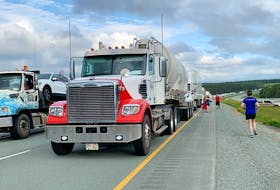 Protesters blocked Highway 104 at Exit 7 near Thomson Station, N.S. for more than five hours Tuesday evening to protest Nova Scotia Premier Iain Rankin's decision to maintain restrictions at the Nova Scotia-New Brunswick border.