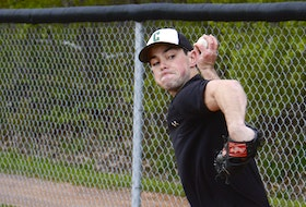 Jordan Stevenson of the Charlottetown Gaudet's Auto Body Islanders throws a pitch during a bullpen session at a recent practice at Memorial Field in Charlottetown.