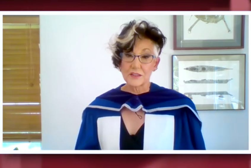 Harriet Burdett-Moulton, a native of Labrador, addresses graduates of Carleton University's architectural studies program in a recorded video message Friday, as she accepted an honorary doctor of laws from the university.