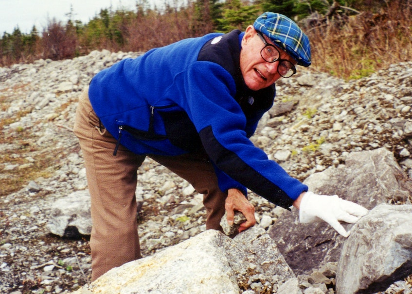 Ernest Ohle visiting Daniel's Harbour in 1999, looking for some residual zinc core samples.  - Contributed